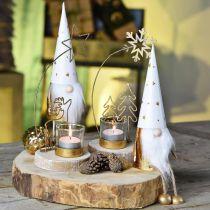 Tealight holder fir and snowflake metal Ø10cm H24cm