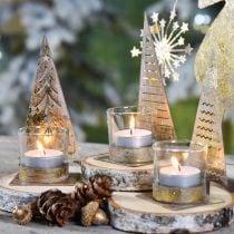 Tealight holder Christmas tree metal, glass lantern H15cm 3pcs
