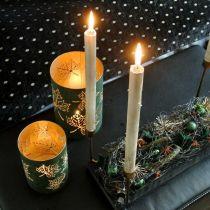 Lantern metal leaves green, golden H20 / 15 / 10cm set of 3