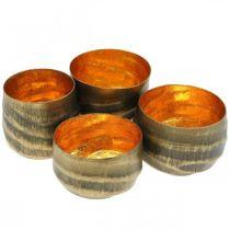 Tealight holder round metal bronze, gold Ø6.5-8.5cm set of 4
