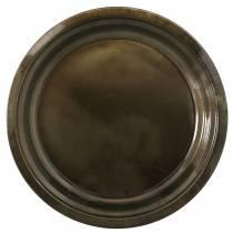 Decorative plate made of metal bronze with glaze effect Ø40cm