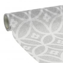Tablecloth fleece with pattern gray 30cm x 300cm