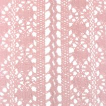 Table runner crochet lace pink 30cm x 140cm