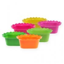 Plastic pot oval colored 23cm 10pcs