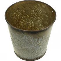 Planter for autumn, metal pot with leaf decoration, golden planter Ø10cm H10cm