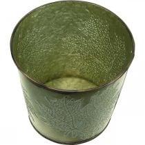 Planter with leaf decoration, metal vessel for autumn, green plant bucket Ø10cm H10cm