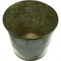 Decorative bucket with leaf decoration, autumn pot, metal decoration green Ø17cm H14.5cm