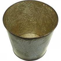 Planter for autumn, metal bucket with leaf decoration, golden metal vessel Ø14cm H12.5cm