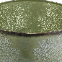 Planter, metal pot with maple leaves, autumn decoration green Ø25.5cm H22cm
