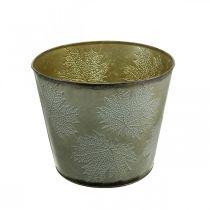 Plant pot, autumn decoration, metal vessel with leaves golden Ø25.5cm H22cm