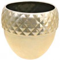 Ceramic planter acorn golden Christmas decoration Ø18cm H16.5cm