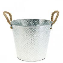 Plant pot with flower pattern, metal pot for planting, plant pot with handles Ø25.5cm