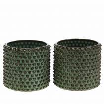 Planter Decorative pot Green, Brown Ø10cm H10cm Set of 2