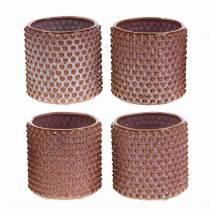 Flower pot pink, orange Ø7.5cm H8cm 4pcs