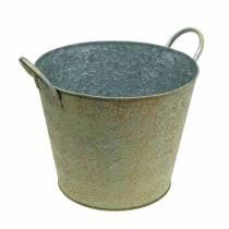 Bucket green with handles Ø26cm vintage look planter metal rust
