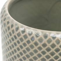 Ceramic planter, braided pattern pot, ceramic pot Ø13cm 3pcs