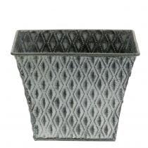 Zinc Flower Pot with Diamond Pattern H11,5cm