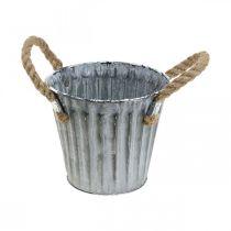 Plant pot with handles, metal planter, decorative pot for planting Ø14.5cm