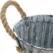 Plant pot with handles, metal vessel, antique-look planter Ø12cm