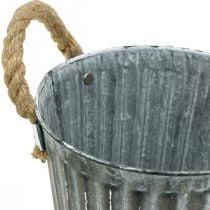 Metal pot for planting, planter, planter bowl with handles Ø18cm