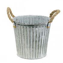Decorative pot for planting, metal pot with handles, metal decoration Shabby Chic Ø21.5cm