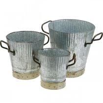 Metal cachepot with handles vintage decoration Ø26 / 20 / 17cm set of 3