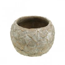 Flower pot concrete small flower pattern vintage look Ø15cm H11cm