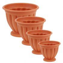 Pot with base plastic terracotta Ø 15cm - 21cm, 1 pc