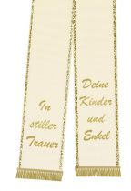 Mourning ribbon printed 125mm x 75cm cream