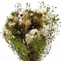 Bouquet of dried flowers with meadow grasses white, green, brown 125g dried flowers
