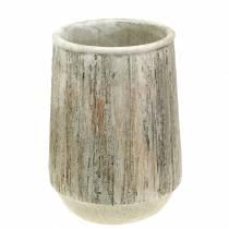 Planter vase concrete wood design Ø15cm H20,5cm