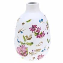 Decorative vase white floral Ø11cm H17.5cm