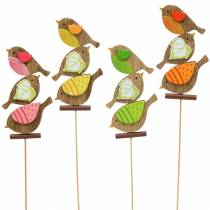 Spring decoration birds with wooden stick assorted H10,5cm 12pcs