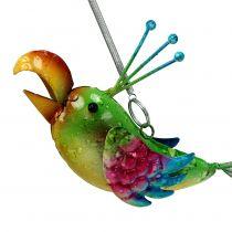 Bird for hanging green, pink, blue 19.5cm