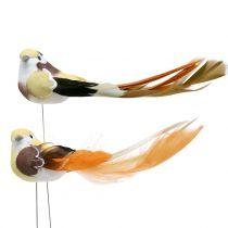 Bird on the wire Brown / Orange 14cm 12pcs