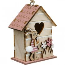 Bird house to hang, spring, decorative bird house with bunny, Easter decoration 4pcs