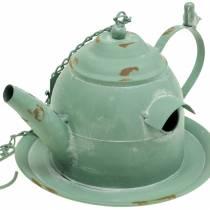 Birdhouse teapot for hanging mint green H15cm