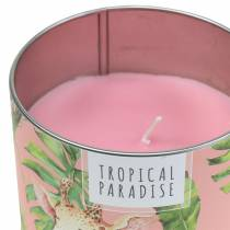 Scented candle in a rainforest tin pink Ø9.5cm H8cm