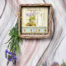 Wicker basket with lavender motif 20cm