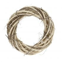 Wicker wreath with branches nature Ø25cm