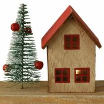 Christmas village with LED lighting natural, red wood 40 × 10.5 × 7cm