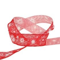 Christmas ribbon red with star pattern 25mm 20m