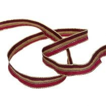 Christmas ribbon with stripes Erika, gold 15mm 20m