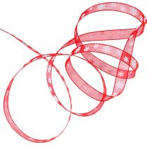 Christmas ribbon red with snowflake 10mm 20m