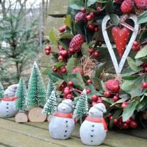 Christmas figure snowman with fir tree concrete gray, colored 9cm – 11cm 4pcs
