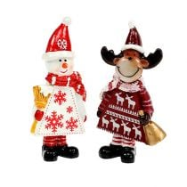 Christmas figures moose, snowman sort. 9cm 2pcs