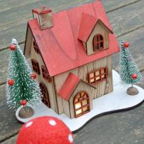 Christmas house with LED lighting natural, red wood 20 × 17 × 15cm