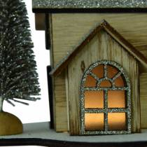 Christmas house with LED lighting nature, glitter wood 20 × 17 × 15cm