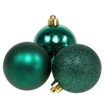 Christmas ball emerald green mix Ø6cm 10pcs