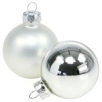 Christmas ball glass Ø6cm silver mix 24pcs